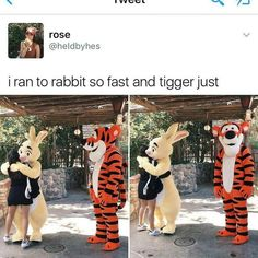 I'd run to tigger and then pull rabbit into the hug