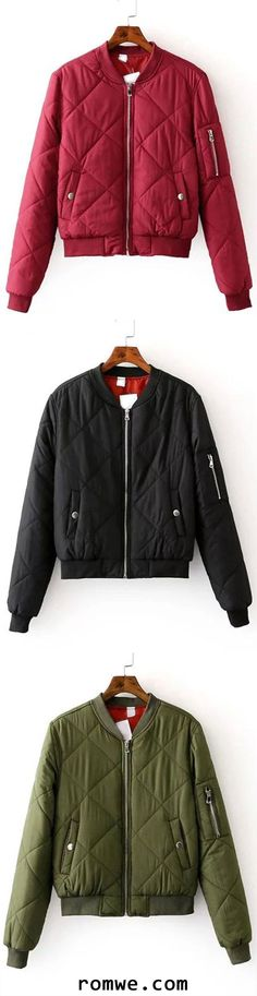 Zipper Up Quilted Padded Bomber Jacket