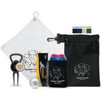 "Birdies and beverages! This fresh golf kit is ideal for the golfers that want to have a little fun. Kit includes a white 16""x 16"" micro fiber golf towel, a collapsible neoprene can cooler, bottle opener divot tool with removable ball marker, and three Callaway Warbird 2.0 golf ball. All packaged in a 6""x 10"" nylon zipper pouch that conveniently clips to a golf bag. Price includes a full color imprint on the ball marker and a one color imprint on the pouch, towel, can coole..."
