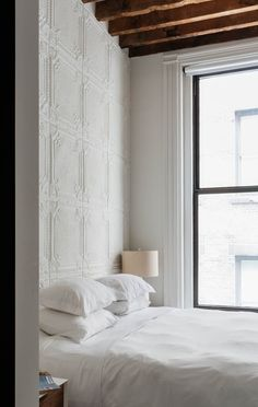 Whether you leave them exposed, to add a little shine, or paint them, pressed tin tiles (or panels) might be just the thing to add a little texture — and a little classic style — to your home. Tin Tiles, Tin Ceiling Tiles, Wall Tiles, Tile Bedroom, Cozy Bedroom, Budget Bedroom, Bedroom Ideas, Bedroom Styles, Beautiful Bedrooms