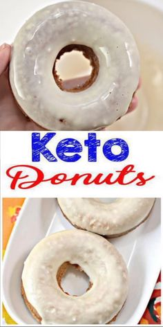 Try the BEST baked glaze donuts for a diet. Easy NO Sugar, gluten free and Low Carb Recipe. Keto doughnuts you will love! Great healthy keto dessert, keto breakfast, keto snack - grab and go! Donuts Keto, Savory Donuts Recipe, Donut Recipes, Low Carb Donut, Low Carb Keto, Low Carb Desserts, Low Carb Recipes, Keto Postres, Pain Keto
