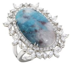 Paraiba Obsession ring in 18k white gold with 9.33 ct. paraiba tourmaline slice and 1.23 cts. t.w. diamonds