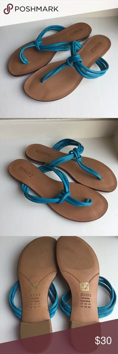 Schutz Sandals Flip Flops Sz 9 40 Turquoise Blue These are barely worn, but they do seem to be missing some decorative (but I think non-functional?) part. Reference photos for where something had been stitched onto the straps. SCHUTZ Shoes Sandals