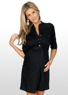 An amazingly chic maternity shirt dress that has beautiful detailing, easy access press studs for breastfeeding post-pregnancy and a figure-hugging shape that shows. Maternity Shirt Dress, Maternity Fashion, Dress P, Dresses For Work, Chic, Casual, How To Wear, Shirts, Clothes