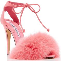 028fecc2a96 This sandal is rendered in pink kid suede and features a fur embellishment  and strap detail - Visit Your Next to see the entire collection