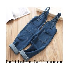 ➕ NEW STOCK ➕  Keep it casual in these denim zip dungarees  Ages 1-6 Years  www.delilahsdollshouse.com