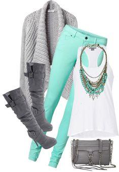 Aqua pants, white shirt, grey sweater... Loving the boots!