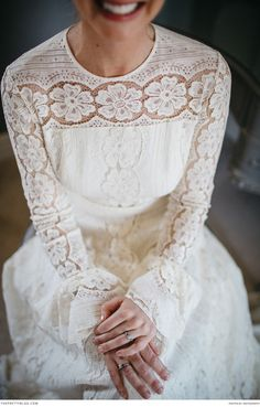 She wore her mother's wedding dress!