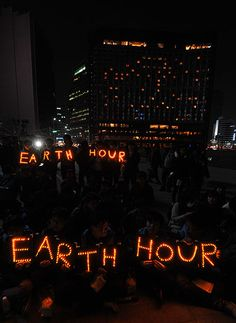 WWF Earth Hour: South Korean students hold Earth Hour LED displays
