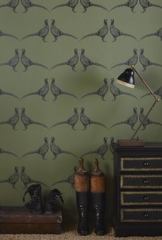 "With the re-introduction of wallpaper into modern day interior design, creating a ""feature wall"" or redecorating an entire room has […] Wallpaper, Boot Room, Room Wallpaper, House Interior, Green Wallpaper, Wallpaper Living Room, Feature Wall, Living Room Remodel, Room"