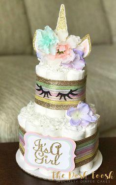 Unicorn Diaper Cake, Baby Shower Centerpiece Decor, Pink Purple Mint Gold Unicorn Baby Shower Mystical Magical Girl Floral Rainbow, 2 Tier - New Deko Sites Shower Party, Baby Shower Parties, Baby Shower Themes, Baby Shower Gifts, Shower Ideas, Unicorn Baby Shower, Girl Shower, Baby Shower Diapers, Baby Shower Cakes