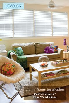 home living room inspiration custom faux wood blinds