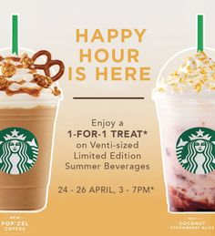 Starbucks Happy Hour: 1-for-1 Venti-sized Summer Frappuccinos! #1For1 #Starbucks #StarbucksCard #StarbucksSingapore 1 for 1, Starbucks, Starbucks card, Starbucks Singapore