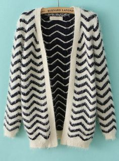 Navy Long Sleeve Zigzag Striped Cardigan Sweater