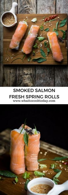 Appetizers easy healthy finger foods smoked salmon 48 Ideas for 2019 Fresh Spring Rolls, Summer Rolls, Fresh Rolls, Healthy Spring Recipes, Spring Roll Recipes, Healthy Spring Rolls, Fresco, Chicken Spring Rolls, Salmon Spring Roll Recipe