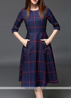 Pockets Color Block Midi Dress Work outfits for dresses casual outfits classy fashions lovely 2019 fall dress outfits Stylish Dresses, Cute Dresses, Beautiful Dresses, Casual Dresses, Modest Dresses, Modest Outfits, Casual Outfits, Modest Fashion, Fashion Dresses