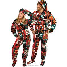 Ugly Christmas Sweater Fleece Drop Seat Footed Pajamas with Long Night Cap, Pajama City - 1