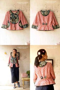 Batik Amarillis's Petit Bon Bon Jacket 2015 lovely & fun! is how to describe Batik Amarillis's Petit Bon Bon Jacket ,accented with yoke,cute croissant pockets,pretty bow and a little flared peplum at the back!
