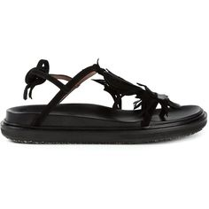 Marni Flower Sandals ($493) ❤ liked on Polyvore featuring shoes, sandals, black, black flower sandals, black flats, leather shoes, black leather sandals and black open toe flats