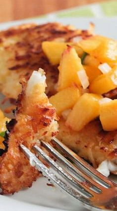 Coconut-Crusted Tilapia with Fresh Peach Salsa