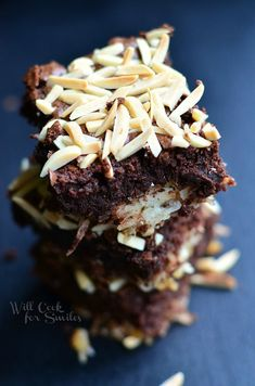 It's Almond Joy Brownies and they are sooo yummy! A layer of coconut and almond mixture, topped with brownies and some toasted almonds on top.