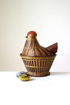 SOLD Vintage chicken decor basket/ unique by RetroandRosesvintage