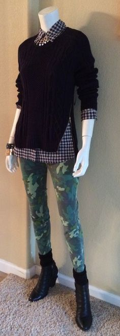 Daily Look: CAbi Fall '14 Zipper Pullover with spring's Clover Camo Jegging and Mesh Shirt.  Booties and socks amp it up for fall. #fallfashion #cabiclothing