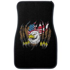 American Bald Eagle USA Flag Custom Printed Front Floor Mats For Your Automobile.  - Stern looking American Eagle ripping its way out of this design with its powerful claws! American flag in the background! Great gift for any country loving, patriotic eagle lover!
