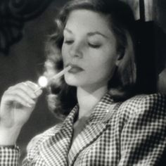 Lauren Bacall as Slim Browning in To Have and Have Not. Slim Browning was based on the future Slim Keith and she and Lauren Bacall became lifelong friends.