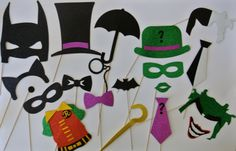 Super Hero Party Batman Inspiered  Photo Booth Party Props Pinguin Ridler Batman Joker by weddingphotobooth on Etsy https://www.etsy.com/listing/199743354/super-hero-party-batman-inspiered-photo