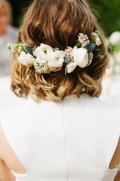 Short Hair for Your Wedding // Bridal Hair Style // Floral wedding headpiece Wedding Hair And Makeup, Hair Makeup, Hair Wedding, Wedding Bride, Floral Wedding Hair, Wedding Stuff, Southern Bridal Showers, Bridal Luncheon, Floral Headpiece