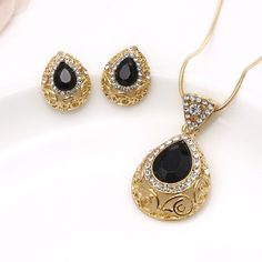 Turkish Necklace Earrings Black GEMSTONE Jewelry Set Gold Plated Waterdrop Boho for sale online Real Gold Jewelry, Gold Jewelry Simple, Gold Wedding Jewelry, Jewelry For Her, Emerald Jewelry, Black Jewelry, Gemstone Jewelry, Jewelry Sets, Wedding Gold