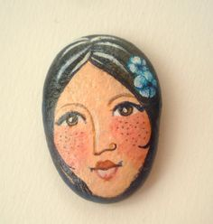 Painted stones. Beach stone art - Original art work, figurative art, girl…