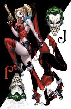 Harley Quinn Tattoo, Joker Und Harley Quinn, Marvel Dc, J. Scott Campbell, Dc Comics, Comics Girls, Harey Quinn, Joker Card, Earl Moran