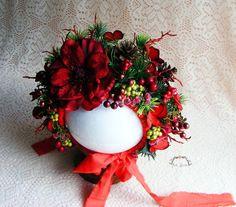 Baby bonnet, Christmas bonnet, Photography prop, Sitter prop, Christmas prop, Floral bonnet, Christmas floral bonnet, Toddler prop by AraSASA on Etsy