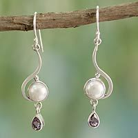 Cultured pearl and amethyst dangle earrings, 'Cloud Sonnet'
