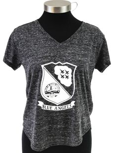 BLUE ANGELS V-TEE   SIZES: XS - XXL COLOR: HEATHERED CHARCOAL   4.1 oz., 90/10 Polyester/Cotton Snow Heather Jersey Self-neck band with mitered neck Forward-set shoulder seam Shirttail hem