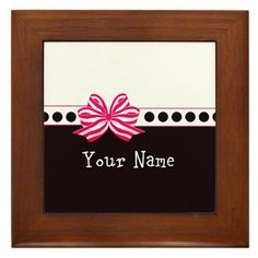 Pink and White Stripe Bow Framed Tile