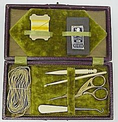 Victorian - Edwardian sewing kit, it comes in original hinged box and lined with lovely green velvet, It consists from stork SCISSORS and stiletto, crochey hook and glove button hook, also pack of Kirby's sewing needles, cloth tape and some lovely thread, as per pictures. This kit came from England early 1900's