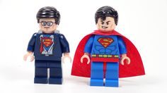 Lego Superman and Clark Kent minifigures.