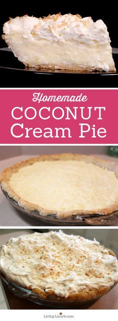 This creamy, fresh homemade Coconut Cream Pie Recipe is a mouth-watering dessert wonderful for any occasion! LivingLocurto.com