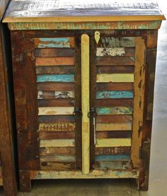 Reclaimed teak rustic shutter 2 door cabinet with a aged finish - $416