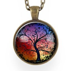 Tree Of Life Necklace, Sunset Blue, Red, & Yellow – CellsDividing