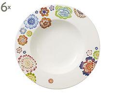 Set di 6 piatti fondi in porcellana Anmut Blossom - d 24 cm