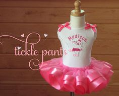 Lambie Birthday tutu Outfit Hot Pink Includes top by TicklePants
