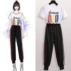 Large Size Sports Suit Short-sleeved T-shirt Nine Pants Fat Sister Casual Two-piece Suit is fashion, see more co ord outfits and short suits women online. Ulzzang Fashion, Kpop Fashion, Korean Fashion, Girl Fashion, T Shirt Fashion, Fashion Drawing Dresses, Fashion Illustration Dresses, Fashion Dresses, Girls Fashion Clothes