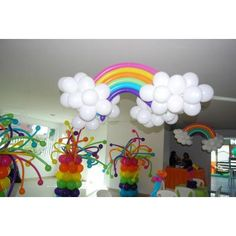 cute balloon rainbows and no helium required because we could hang them with fishing line <3 Angela