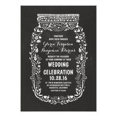 5 x 7 Inch Mason Jar Wedding Invitations