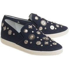 Toga Pulla Flat Canvas Blue // Embellished slip-ons ($155) ❤ liked on Polyvore featuring shoes, flats, slip on flats, slip-on shoes, flat shoes, studded flats and blue canvas shoes