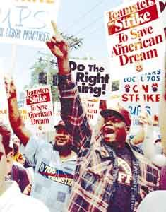 August 4, 1997:  185,000 members of the International Brotherhood of Teamsters from 206 locals across the country go out on strike over part-time work issues at the United Parcel Service (UPS).  The strike lasted fifteen days and ended in a victory for the workers.